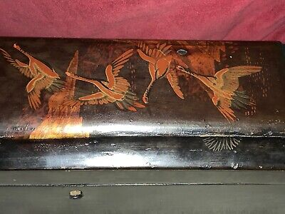 Antique Chinese Glove Box Decorated With Gold Colour Geese In Flight