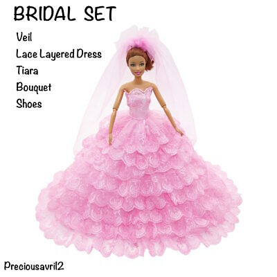 New Barbie doll clothes outfit princess wedding dress pink bridal gown
