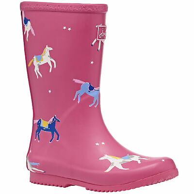 Joules Jnr Roll Up Girls Boots Wellington - Pink Horses All Sizes