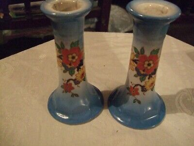 """Pair of attractive blue floral vintage ceramic candlesticks 5"""" tall x 3"""" base"""