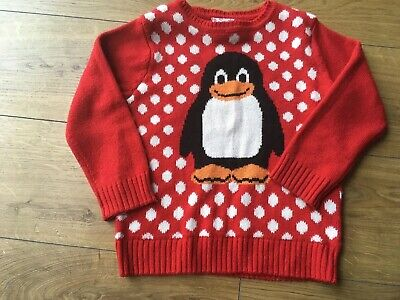 Childs Xmas Penguin Jumper Age 5-6