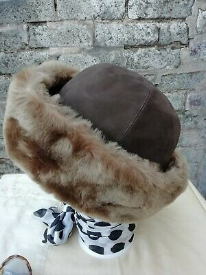 Vtg Original 80s Hut Breiter Cream Brown Genuine Sheepskin Hunting Hat 55/56cm