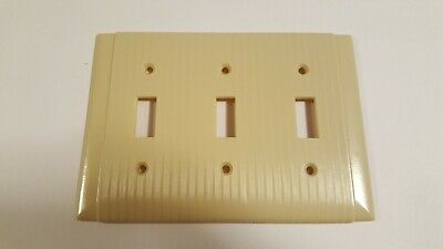 New Vintage Bryant Ribbed Ivory Bakelite 3 toggle Switch Plate Cover #92073