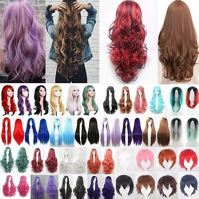 Women Long Hair Full Wig Natural Curly Wavy Straight Synthetic Cosplay Party Wig