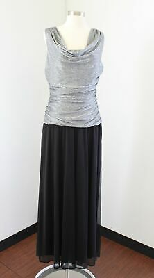 RM Richards Black Silver Metallic Ruched Evening Formal Party Dress Size 12