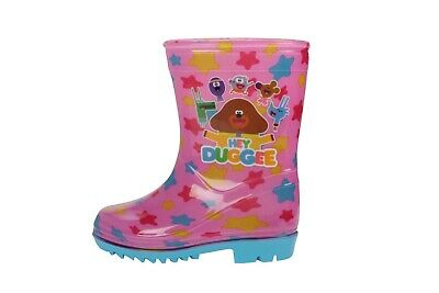 Girls Hey Duggee Pink Wellington Boots Blue Sole Rrp £15