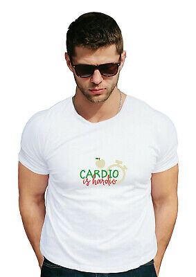 cardio is hardio gym fitness 100% cotton Couple White half sleeve round neck
