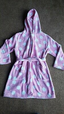 Girls Pink And White Spotted Hooded Dressing Gown Age 7-8 Asda