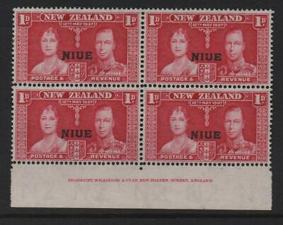 Niue Stamps 1937  SG 72 Coronation Issue 1d  Carmine   Unmounted Mint