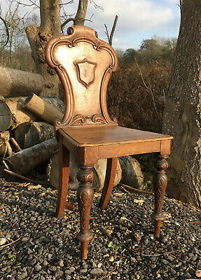 Antique - Early Victorian Oak Hall Chair With Carved Back Shield Design Vgc