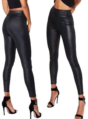 Black Wet Look Leggings High Waist Faux Leather Ladies Stretch Pant PVC Trousers