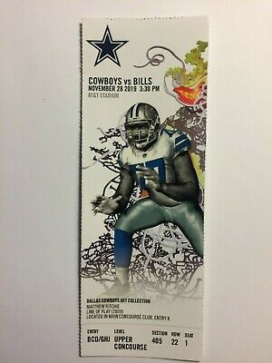 Dallas Cowboys Vs Buffalo Bills November 28, 2019 Ticket Stub