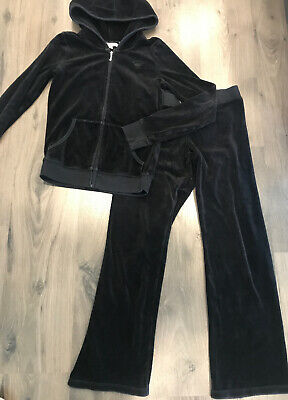 GENTLY WORN Girls Juicy Couture black velour tracksuit - Sz 14