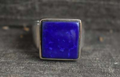 Solid 925 Sterling Silver Lapis Lazuli Gemstone Ring Mens Ring Signet Ring  S5