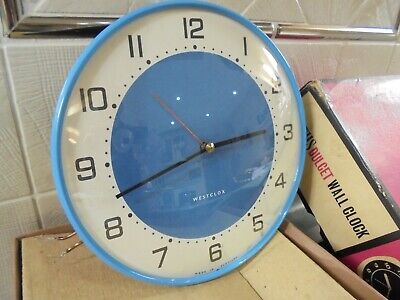 Vintage Retro 60s Smiths Dulcet Blue Wall Clock + Box