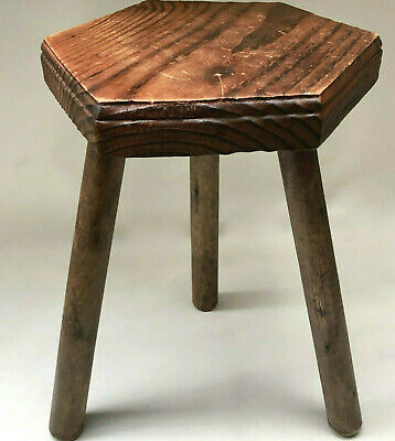 Vintage French Small Rustic Three Leg Wooden Milking Stool With Hexagon Seat