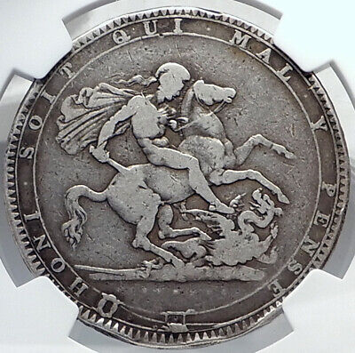1820 GREAT BRITAIN UK King George III Antique Silver CROWN Coin NGC i81891