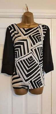 LADIES BLACK Gold and White PARTY TOP SIZE 14 by next