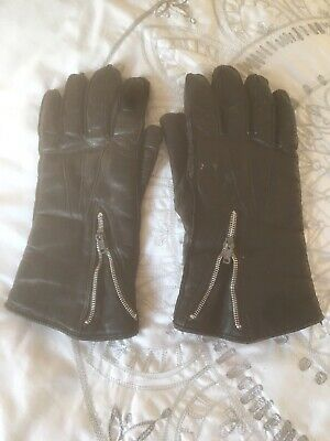 A Pair Of Men's Vintage Black Leather Motorcycle Gloves