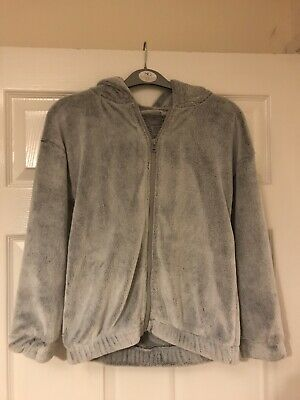 Super Fluffy Soft Grey Girls Hooded Jacket From NEXT Age 10 Years Christmas