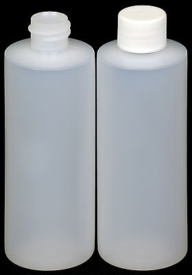 Plastic Bottle (HDPE Natural) w/White Lid, 4-oz. 100-Pack, New