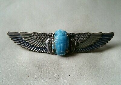 Antique Art Deco Egyptian Revival Sterling Silver Winged Scarab Beetle Brooch.