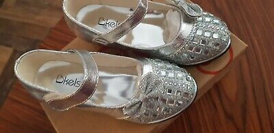 Girls Silver Party Shoes Size 8 Kelsi