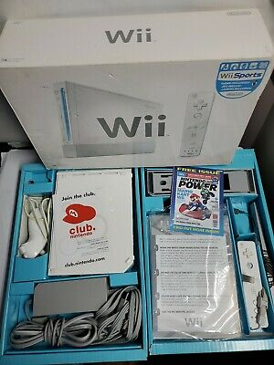 Nintendo Wii RVL-001 White Wii Sports Edition Complete Console Set In Box!