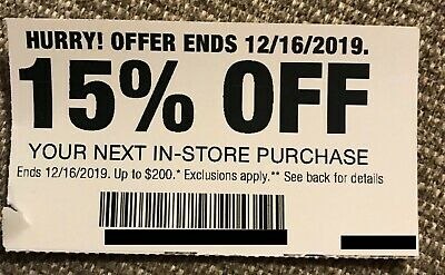 Home Depot Coupon 15% Off In-Store Purchase - Expires Dec. 16, 2019