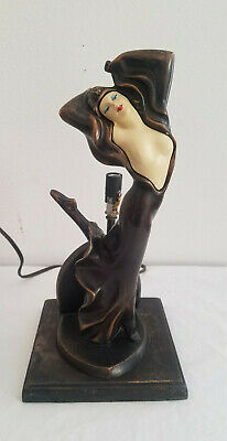 Antique*1928* JB HIRSCH* Trop Risque* lady dancer lamp* missing glass shade*