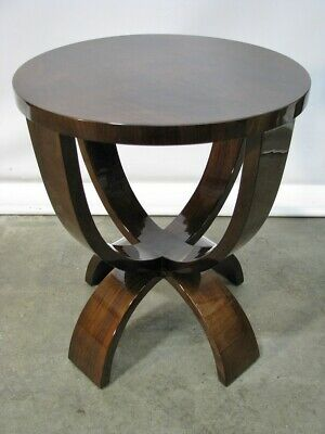 1930's Hungarian Art Deco Burled Walnut Occasional Table; Fully Restored