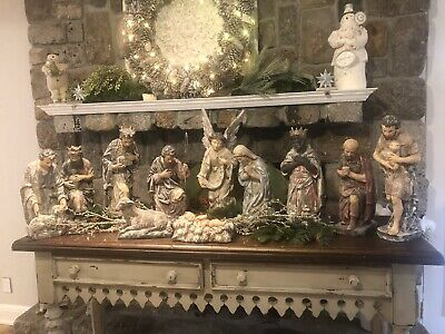 Huge! Gorgeous! Rare!  Hand Carved Wooden Nativity Set Antique Italian Vintage!