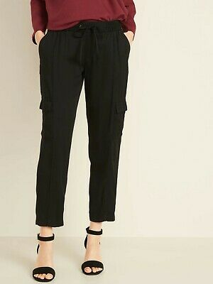 Old Navy Women's Mid-Rise Soft Twill Pull-On Cargo Pants Size XL- Black- NWOT