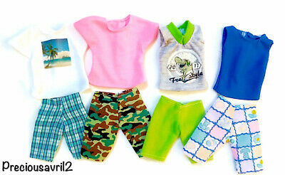 New Barbie Doll clothes Ken Doll outfit clothing t/shirt shorts  4 outfits