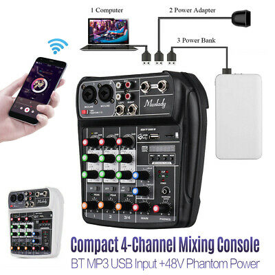 BT 4 Channel Audio Mixer Mixing Console with USB Record 48V Phantom Power O8Y3