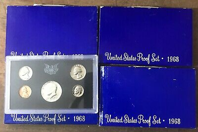 Lot of 4 1968 United States Proof Sets 40% Silver Clad Kennedy Half Dollar