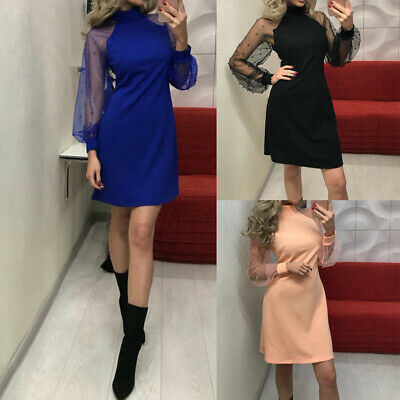 Womens Sexy Pearls Lace Long Sleeve Party Evening Cocktail Short Mini Dress Prom