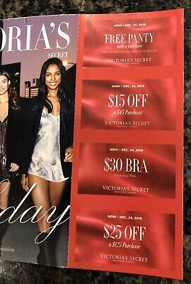 (4) Victoria Secret Coupons - Panty, $15 Off $45, & More Expire 12/24/19
