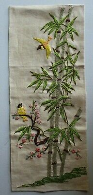 Asian Theme Birds Bamboo Flowers Crewel Embroidery Completed Finished #2