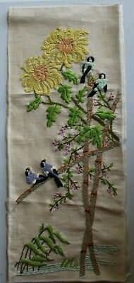 Asian Theme Birds Bamboo Flowers Crewel Embroidery Completed Finished #1