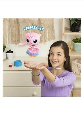 Owleez. Flying Baby Owl Interactive Toy w/ Lights and Sounds (Pink). For Kids 6+