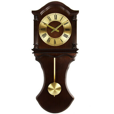 New Bedford Clock Collection 27.5 Inch Wall Clock with Pendulum and Chimes in Ch