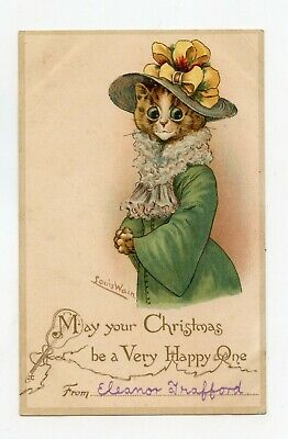 Illustrator Louis Wain. Merry Christmas. Cat Humanized with Hat