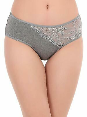 Women's Cotton Mid Waist Hipster Panty with Lace Panel Fashion Sexy Panties