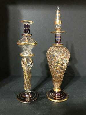 Lot of Two Glass Perfume Bottles Handblown One Has Stopper One Doesn't
