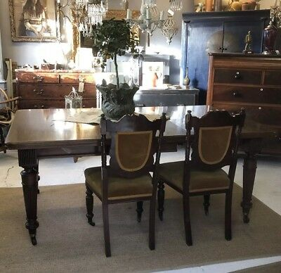 Antique Victorian C1900 mahogany wind out extending dining table Druce & Co