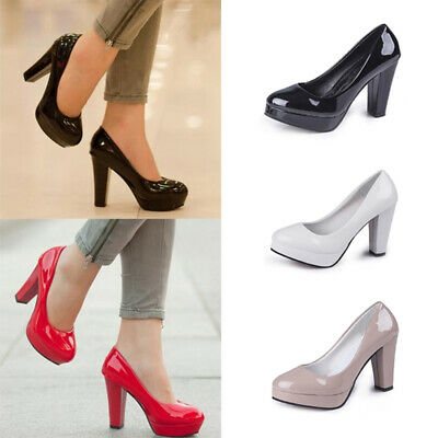 Womens High Block Heel Chunky Pumps Ladies Platform Slip On Office Party Shoes