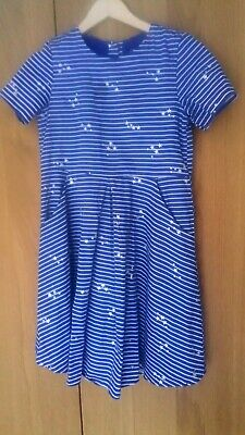 Joules Girls navy blue sliver cotton fully lined party  Dress Age 11-12