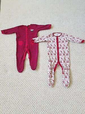 Two Next baby toddler sleepsuits Christmas design 12-18 months