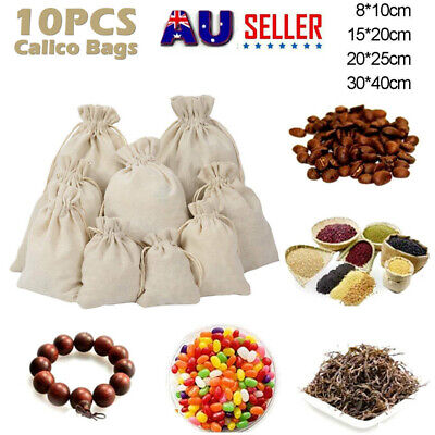 10-20 pcs White Drawstring Storage Bags Bulk Calico Bags Cotton Tote Gift Bag